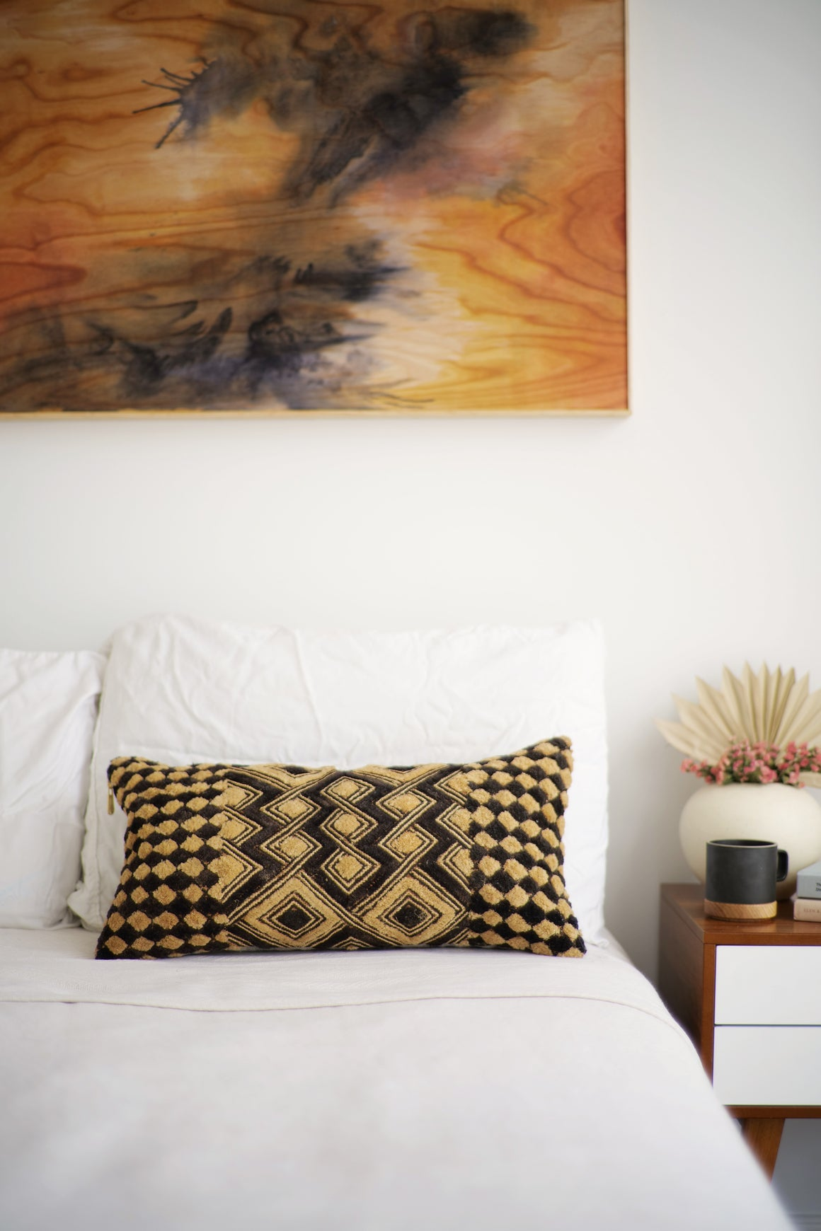 Kuba Cloth Lumbar Pillow No. 89 - Canary Lane - Curated Textiles