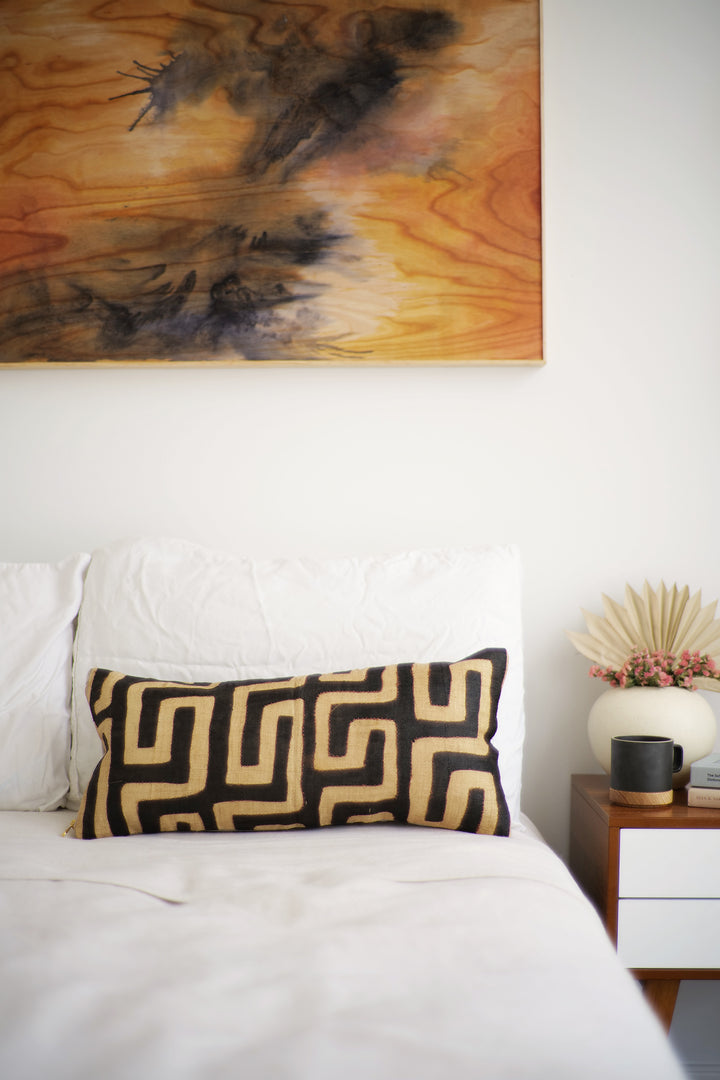 Kuba Cloth Lumbar Pillow No. 94 - Canary Lane - Curated Textiles