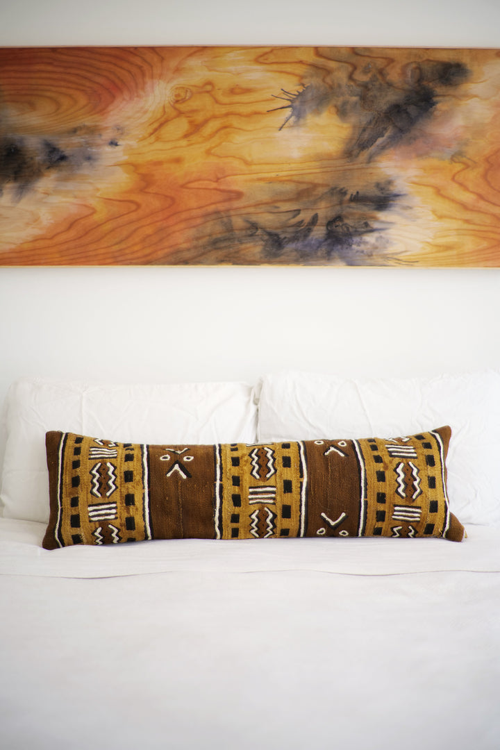 Mudcloth Lumbar Pillow No. 134 - Canary Lane - Curated Textiles