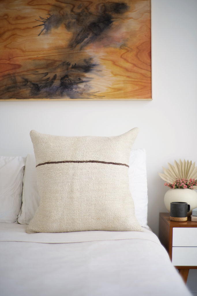 Vintage Hemp Pillow No. 64 - Canary Lane - Curated Textiles