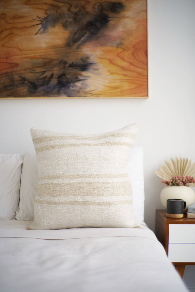 Vintage Hemp Pillow No. 67 - Canary Lane - Curated Textiles