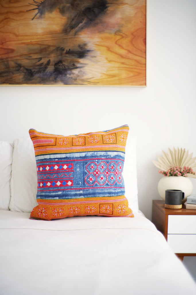 Batik Pillow No. 146 - Canary Lane - Curated Textiles