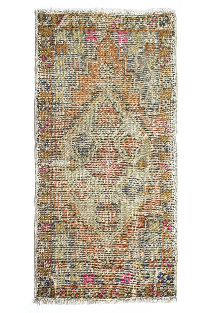 "No. 368 Distressed Petite Vintage Rug - 1'7"" x 3'3"" - Canary Lane - Curated Textiles"
