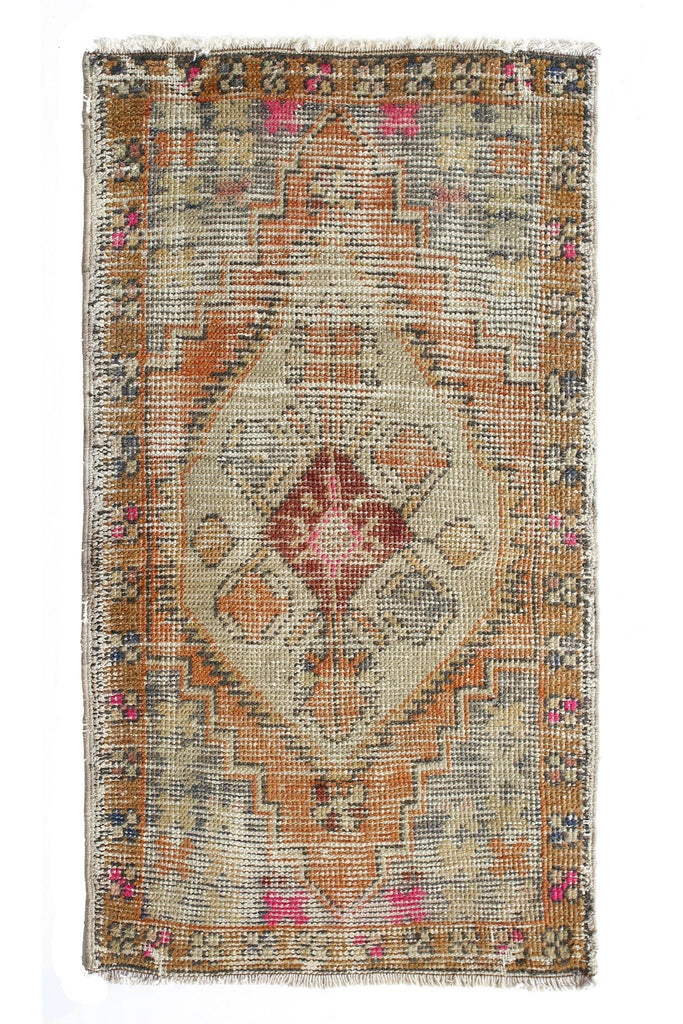 "No. 370 Distressed Mini Rug - 1'7"" x 3' - Canary Lane - Curated Textiles"