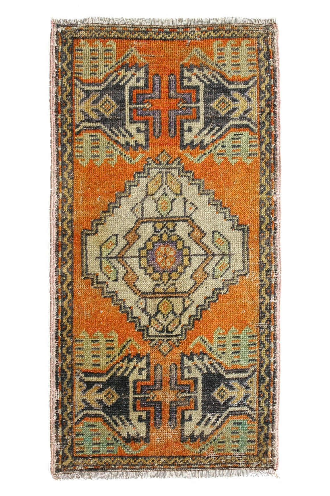 "No. 371 Petite Vintage Rug - 1'6"" x 3' - Canary Lane - Curated Textiles"
