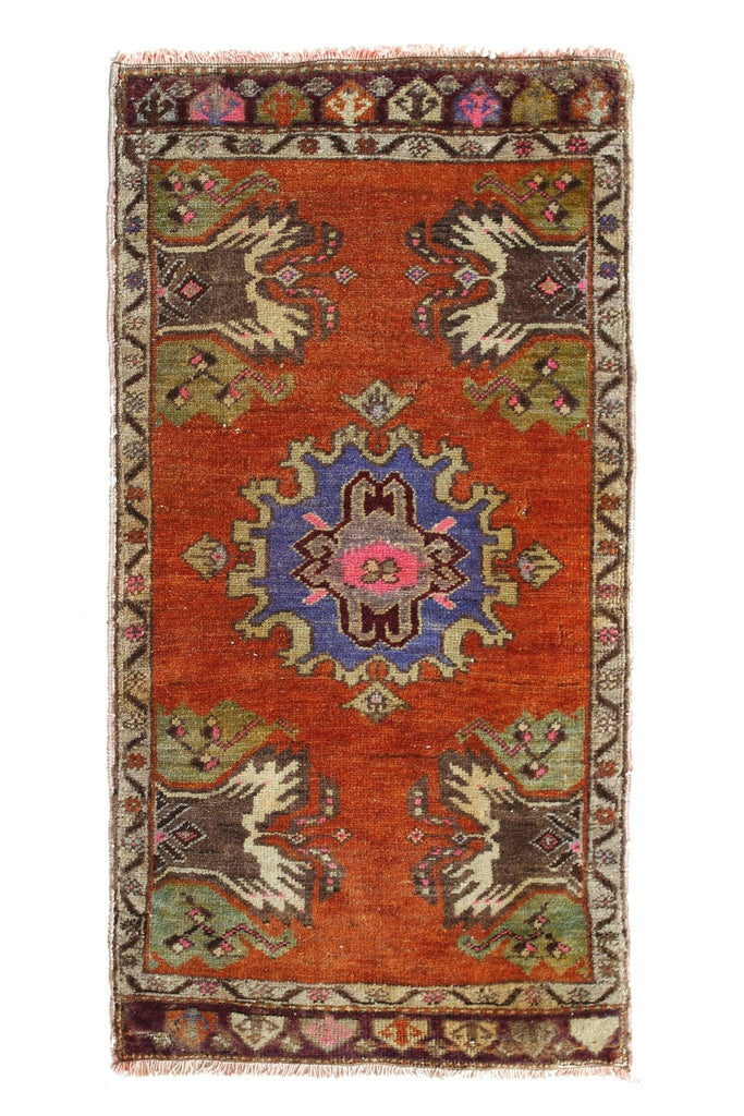 "No. 374 Petite Distressed Rug - 1'7"" x 3'3"" - Canary Lane - Curated Textiles"