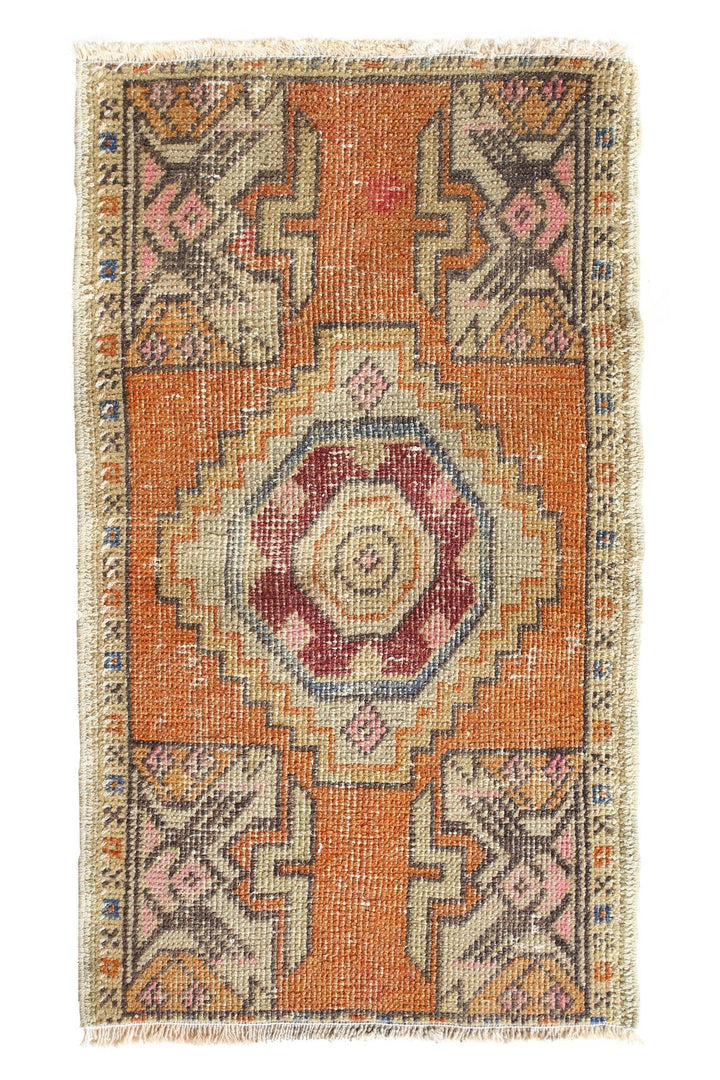 "No. 381 Distressed Petite Vintage Rug- 1'8"" x 2'10"" - Canary Lane - Curated Textiles"