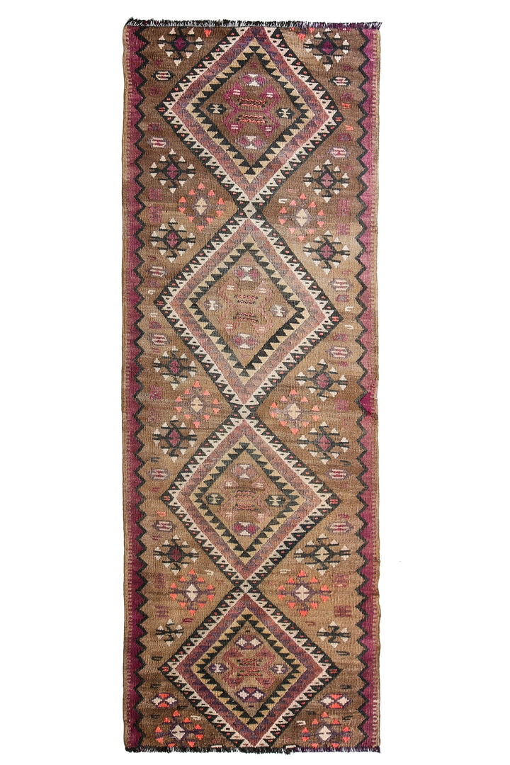 "'Andie' Vintage Kilim - 2'8"" x 7'11"" - Canary Lane - Curated Textiles"