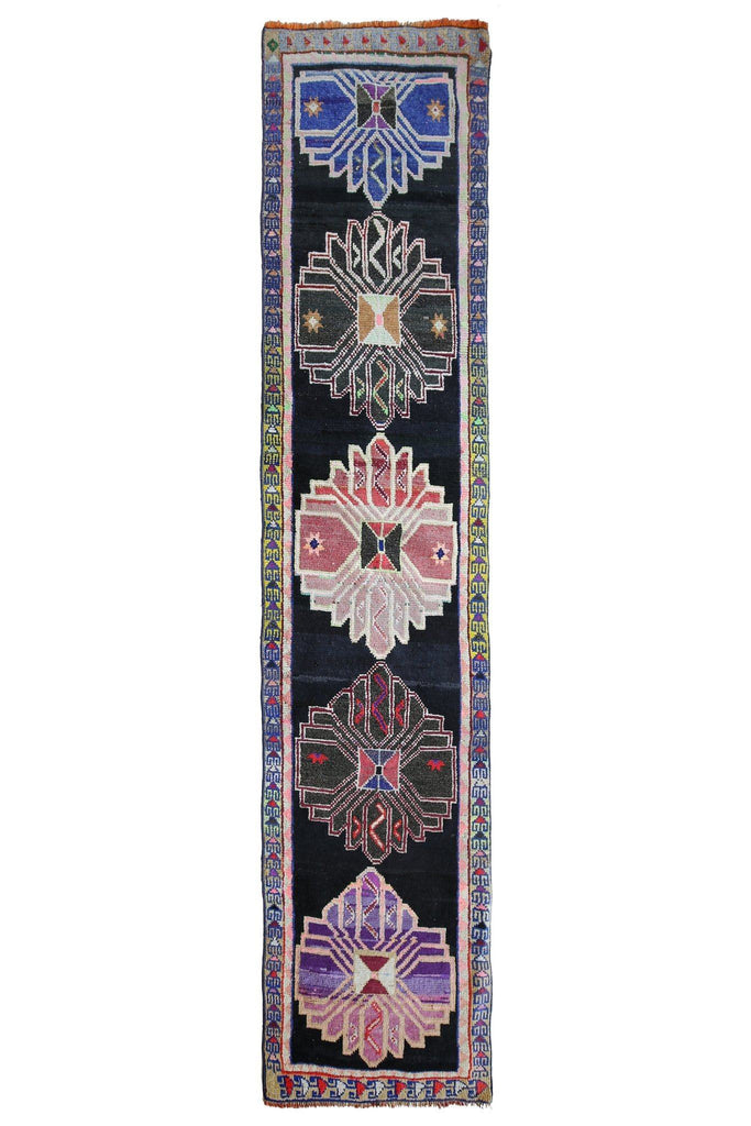 'Night Sky' Turkish Vintage Runner - 2'9'' x 12'9'' - Canary Lane - Curated Textiles