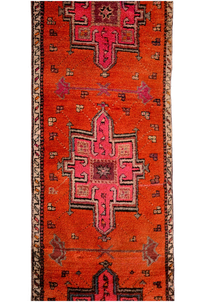 'Papaya' Turkish Vintage Rug - 3'10'' x 13'1'' - Canary Lane - Curated Textiles