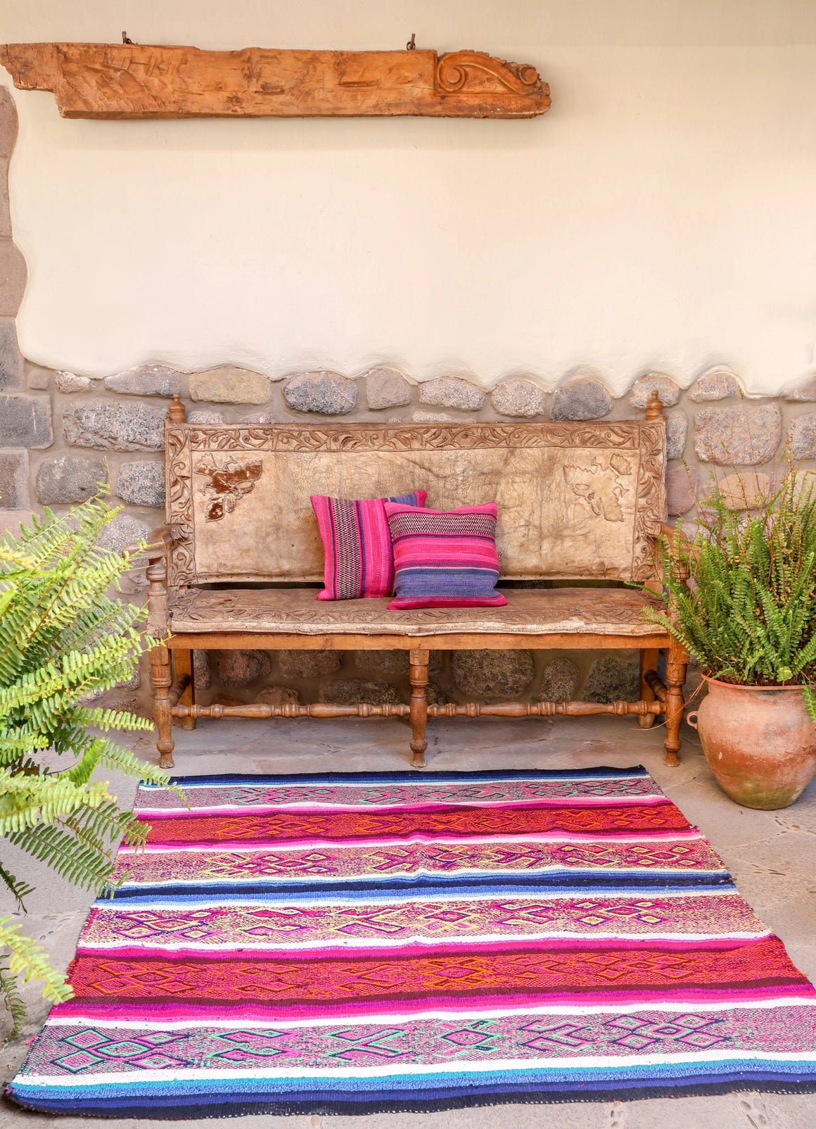 Handwoven Peruvian Frazada No. 002 - Canary Lane - Curated Textiles