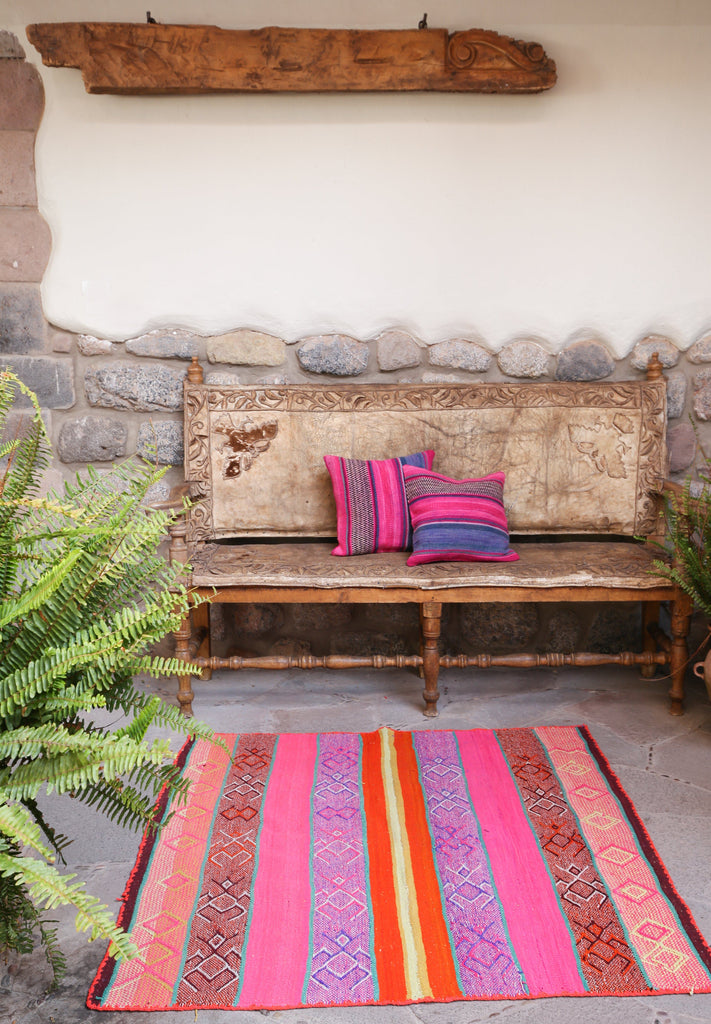 Handwoven Peruvian Frazada No. 001 - Canary Lane - Curated Textiles