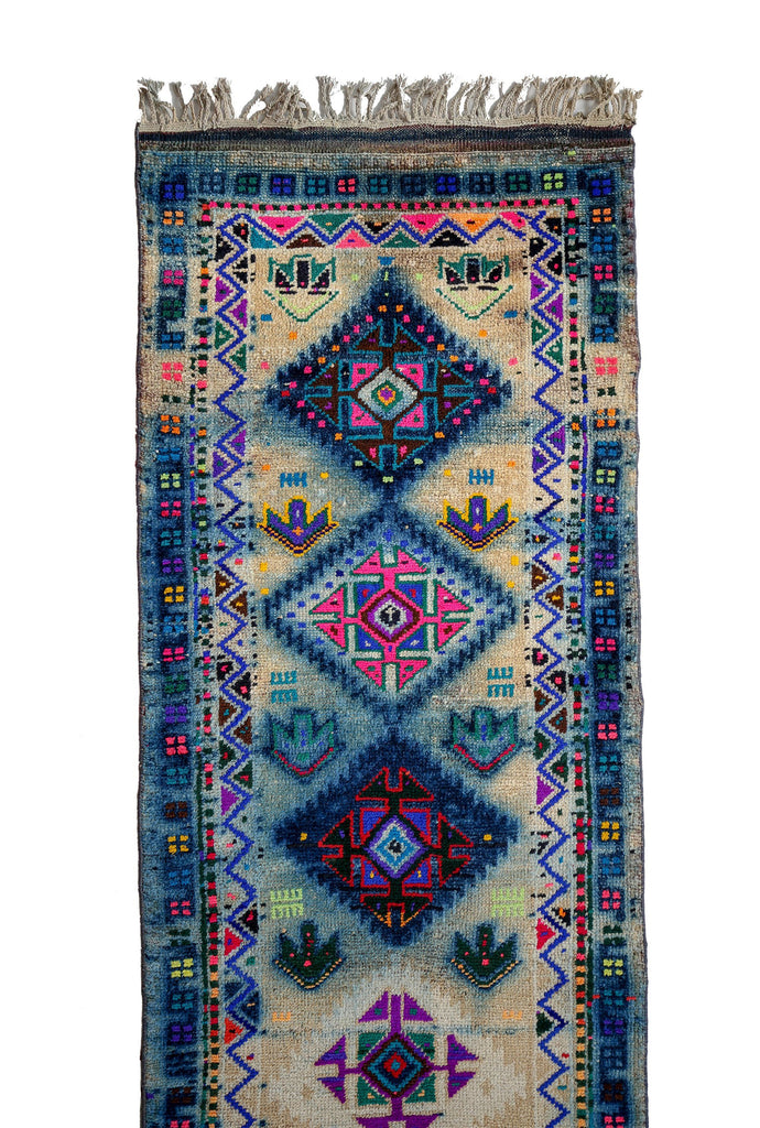 'Rainbow' Tribal Runner Rug - Canary Lane - Curated Textiles
