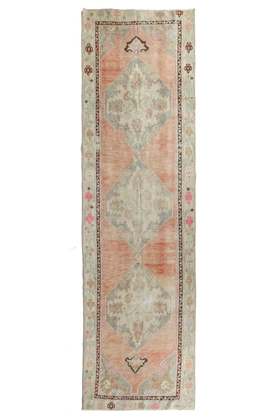 'Peaches' Faded Pastel Oushak Runner - Canary Lane - Curated Textiles