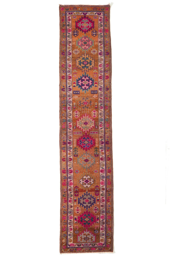'Daisy' Vintage Turkish Long Runner - 2'11'' x 13'10'' - Canary Lane - Curated Textiles