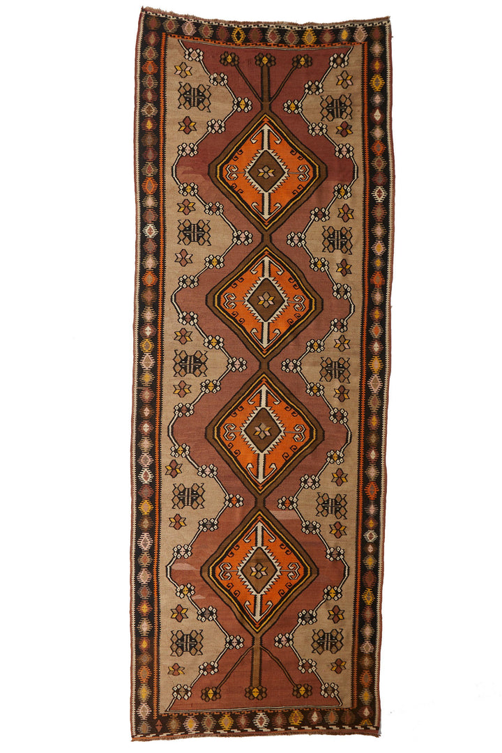 "'Gemma' Vintage Kilim Rug - 4'10.5"" x 13'9"" - Canary Lane - Curated Textiles"
