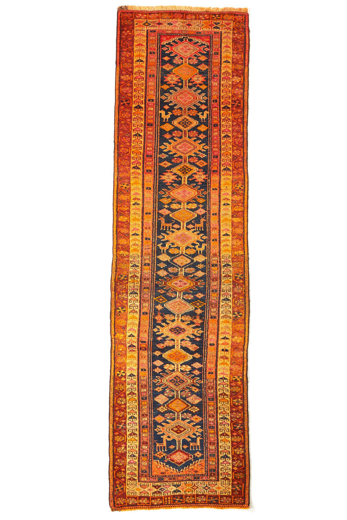 'Dandelion' Antique Rare Tribal Runner - 3'3'' x 11'10'' - Canary Lane - Curated Textiles