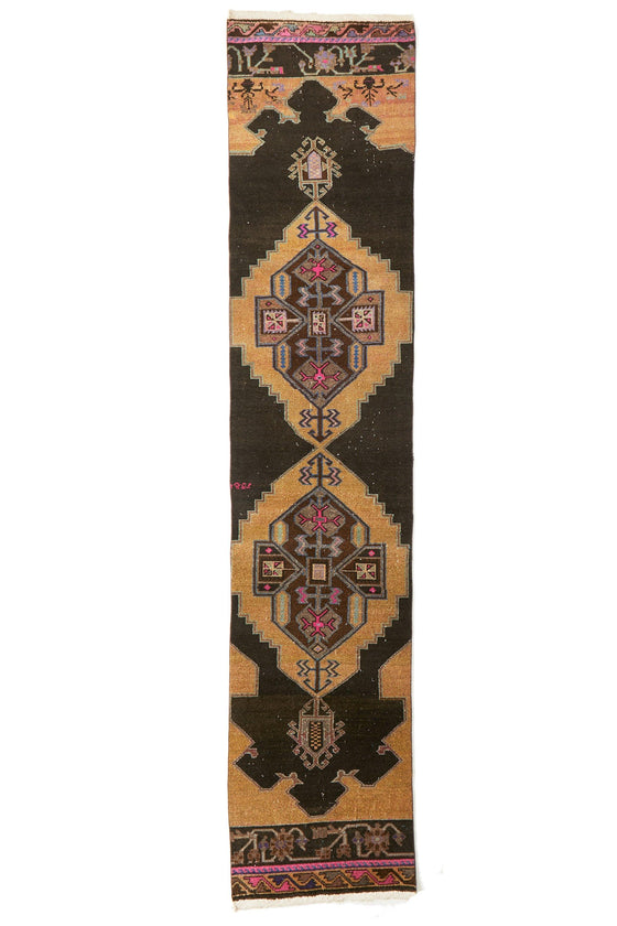 'Midnight' Turkish Vintage Long Runner- 3'1'' x 14'3'' - Canary Lane - Curated Textiles