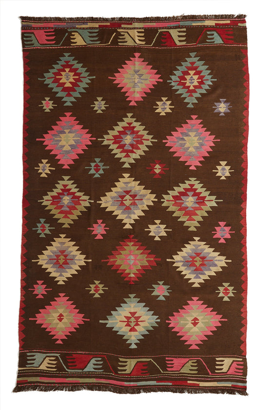 'Fatima' Turkish Kilim Area Rug - 6'4'' x 10'11'' - Canary Lane - Curated Textiles