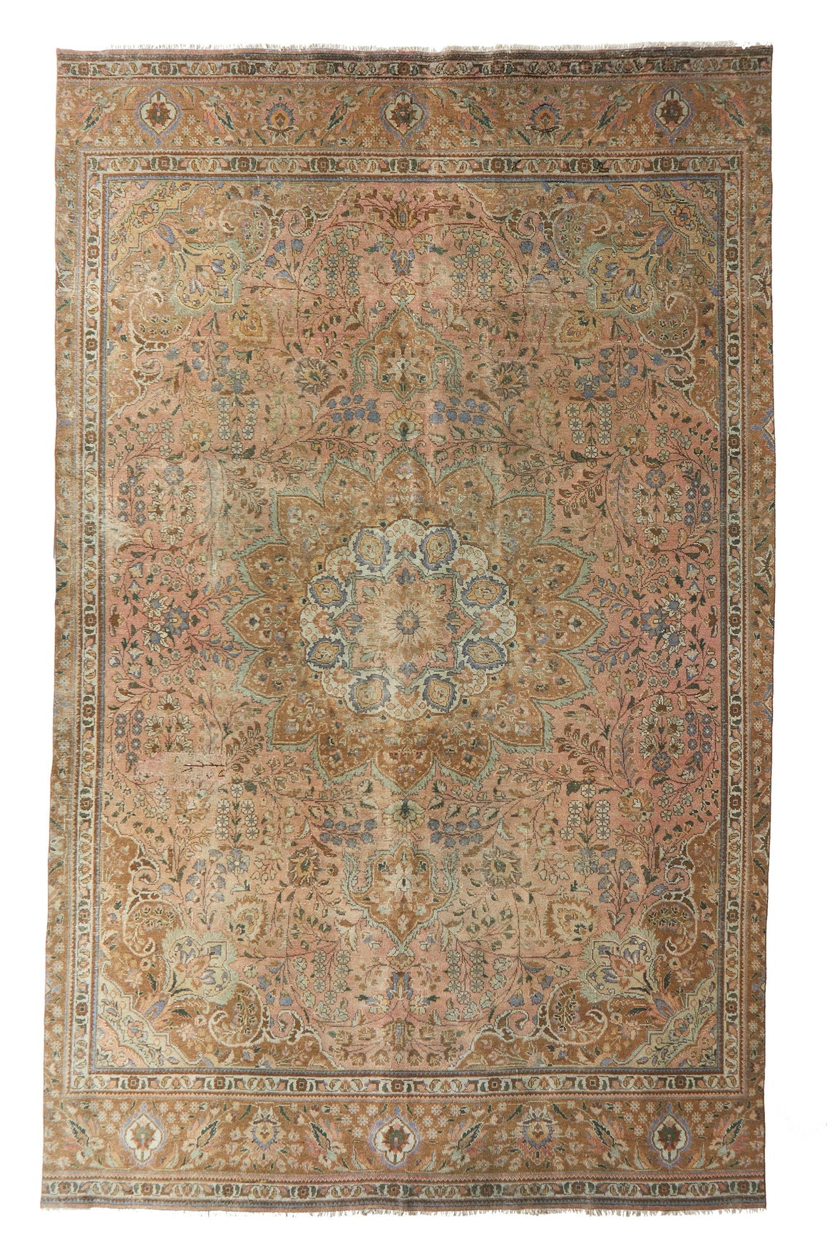 "'Garden Party' Large Vintage Area Rug - 8' x 12'8"" - Canary Lane - Curated Textiles"