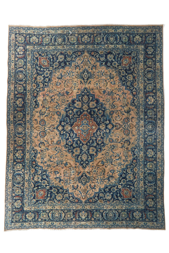 "'Azure' Vintage Persian Large Area Rug - 9'9"" x 12'10"" - Canary Lane - Curated Textiles"