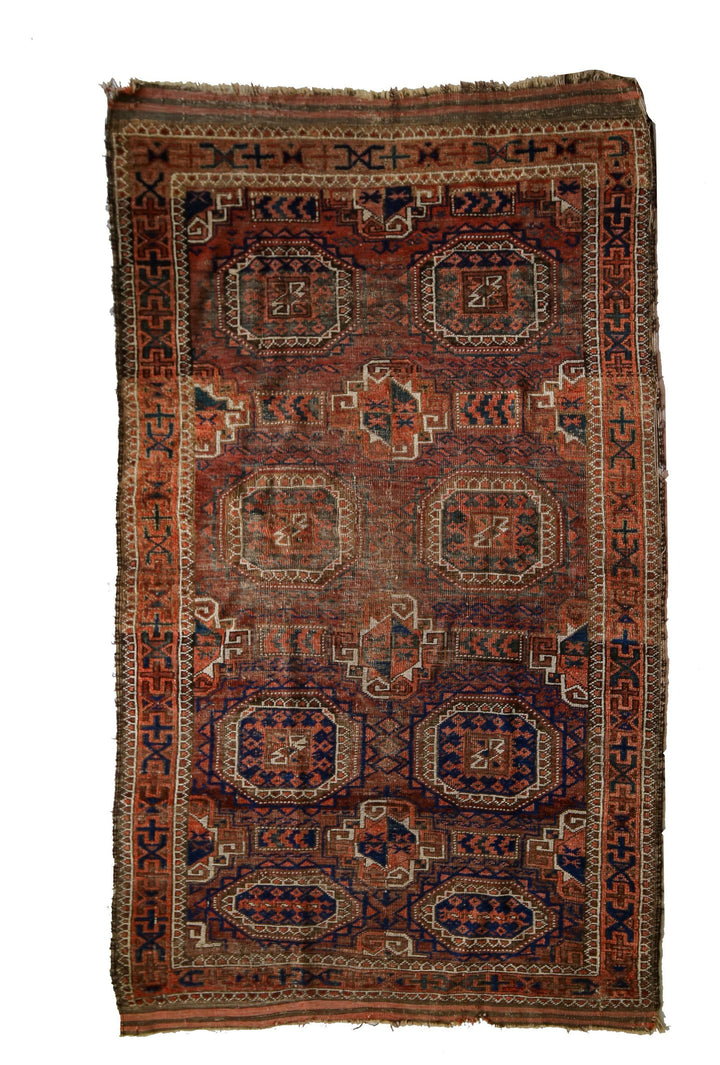 "Persian Antique Turkmen Rug No. 003 - 3'3"" x 5'2"" - Canary Lane - Curated Textiles"