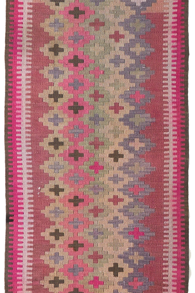 'Serpentine' Tribal Extra Long Kilim Runner- 3'1'' x 17' - Canary Lane - Curated Textiles