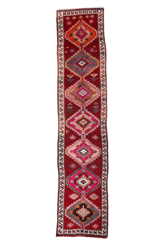 'Jazz' Turkish Vintage Tribal Runner - 3' x 13'11'' - Canary Lane - Curated Textiles