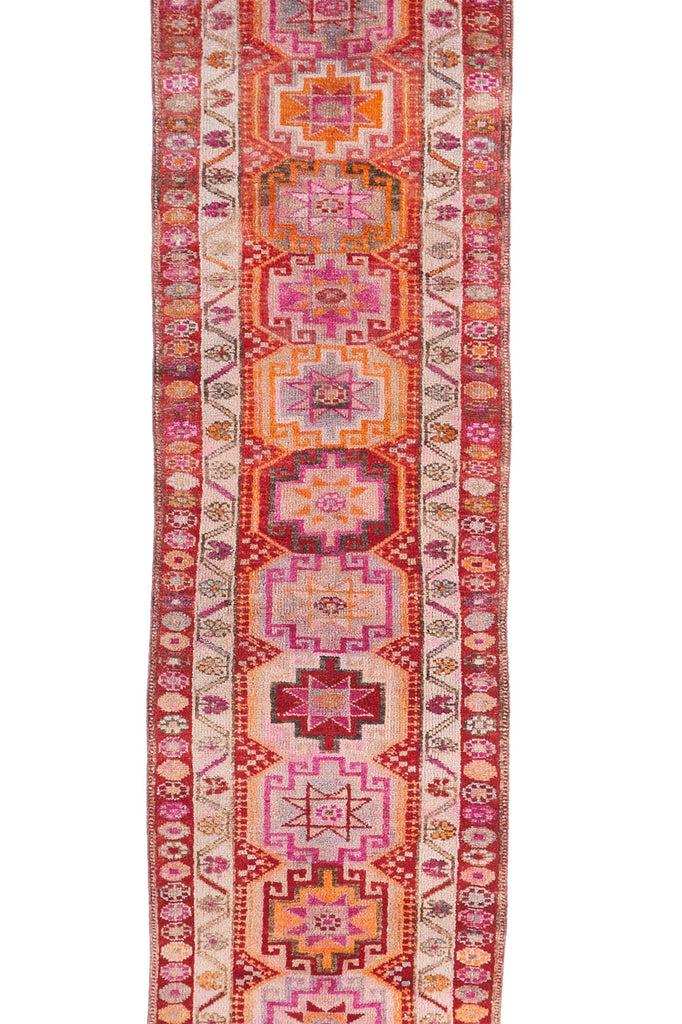 "'Camellia' Vintage Turkish Runner -2'11"" x 14'3"" - Canary Lane - Curated Textiles"