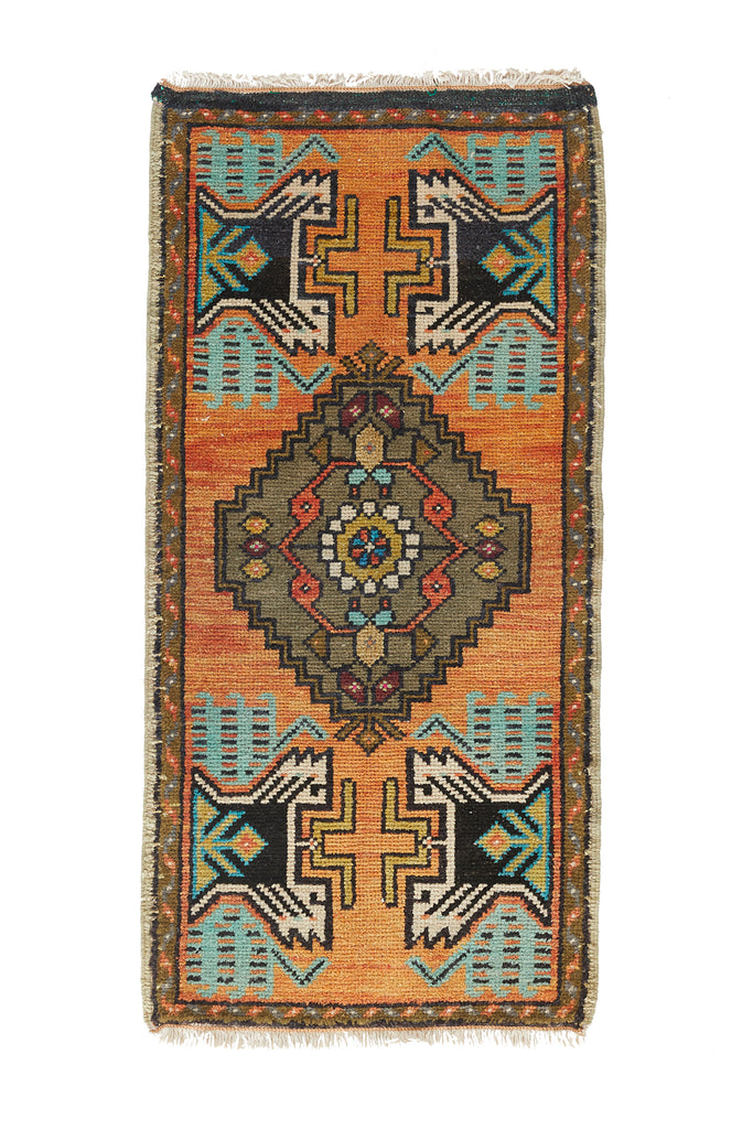 "No. 865 Mini Rug - 1'7"" x 3'6"" - Canary Lane - Curated Textiles"