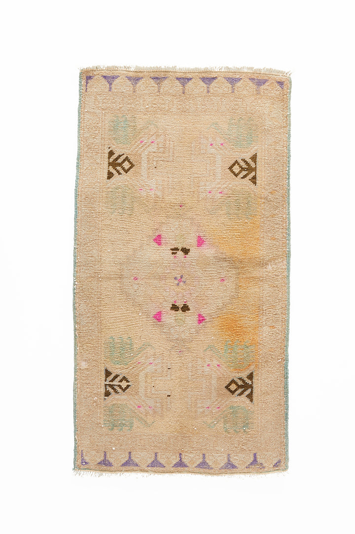 "No. 936 Mini Rug - 1'8"" x 3'3"" - Canary Lane - Curated Textiles"