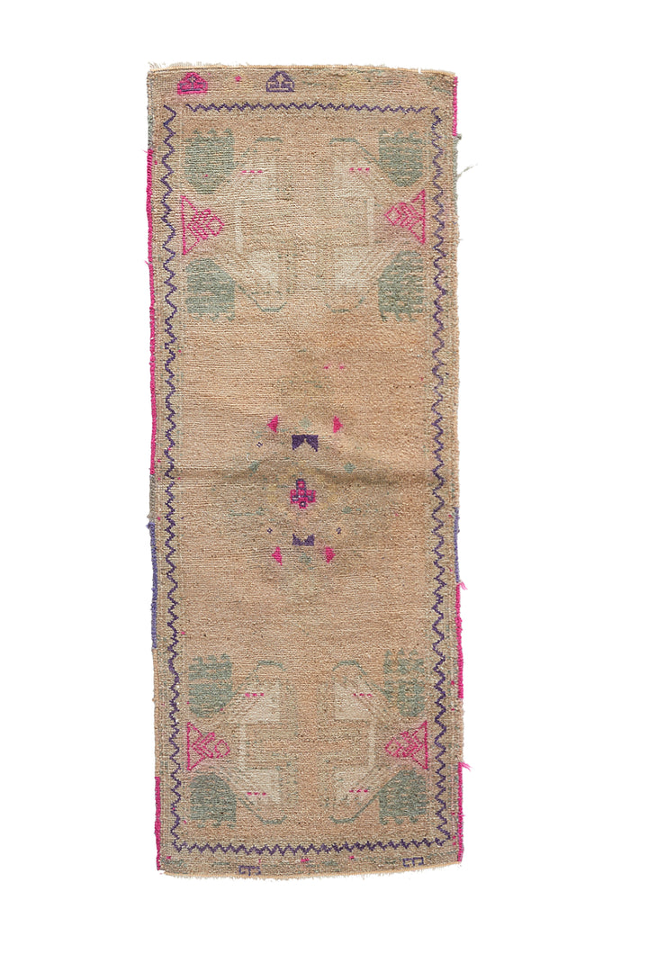 "No. 962 Mini Rug - 1'6"" x 4'2"" - Canary Lane - Curated Textiles"