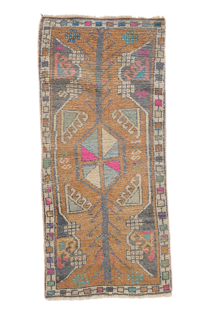 "No. 973 Mini Rug - 1'8"" x 3'9"" - Canary Lane - Curated Textiles"