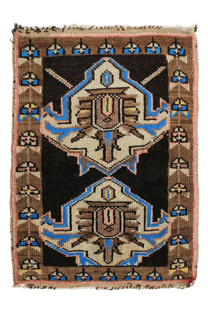 No. 346 Petite Vintage Rug - 1'10'' x 2'6'' - Canary Lane - Curated Textiles