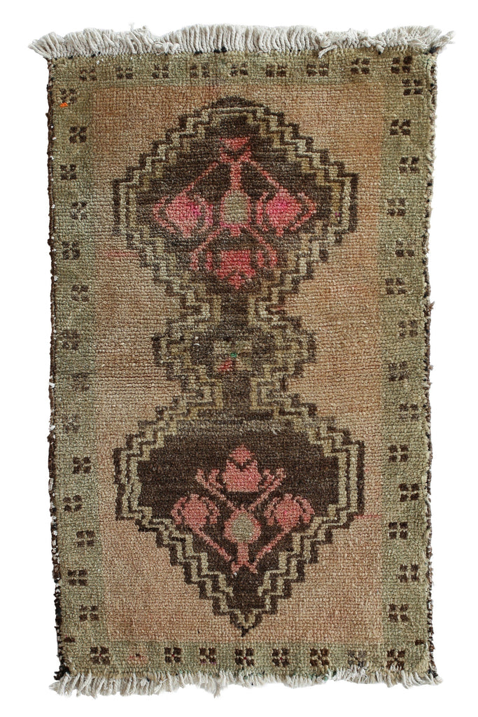 "No. 349 Distressed Petite Rug - 1'6.5"" x 2'9"" - Canary Lane - Curated Textiles"