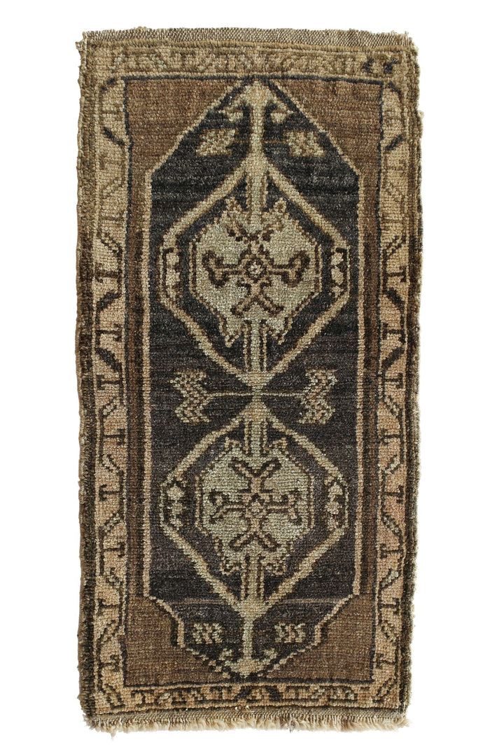 "No. 352 Petite Vintage Rug - 1'5"" x 2'11"" - Canary Lane - Curated Textiles"