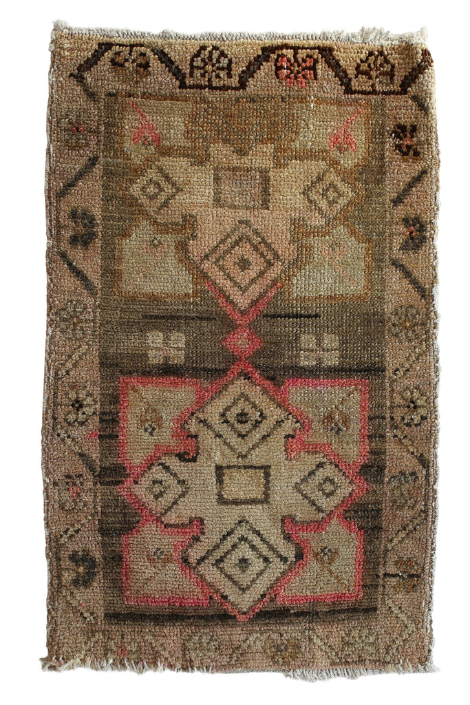 "No. 357 Vintage Mini Rug - 1'8"" x 2'8"" - Canary Lane - Curated Textiles"