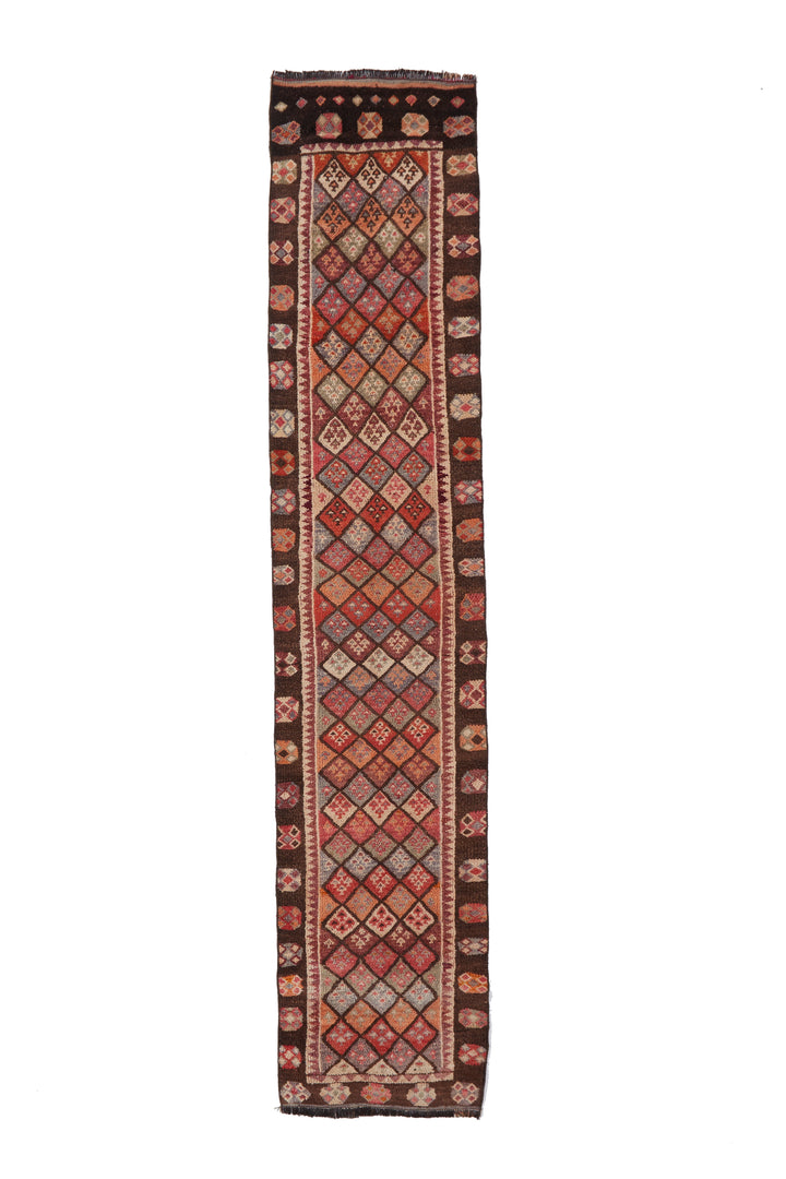 "'Eliza' Turkish Vintage Runner Rug - 2'7"" x 12'1"" - Canary Lane - Curated Textiles"