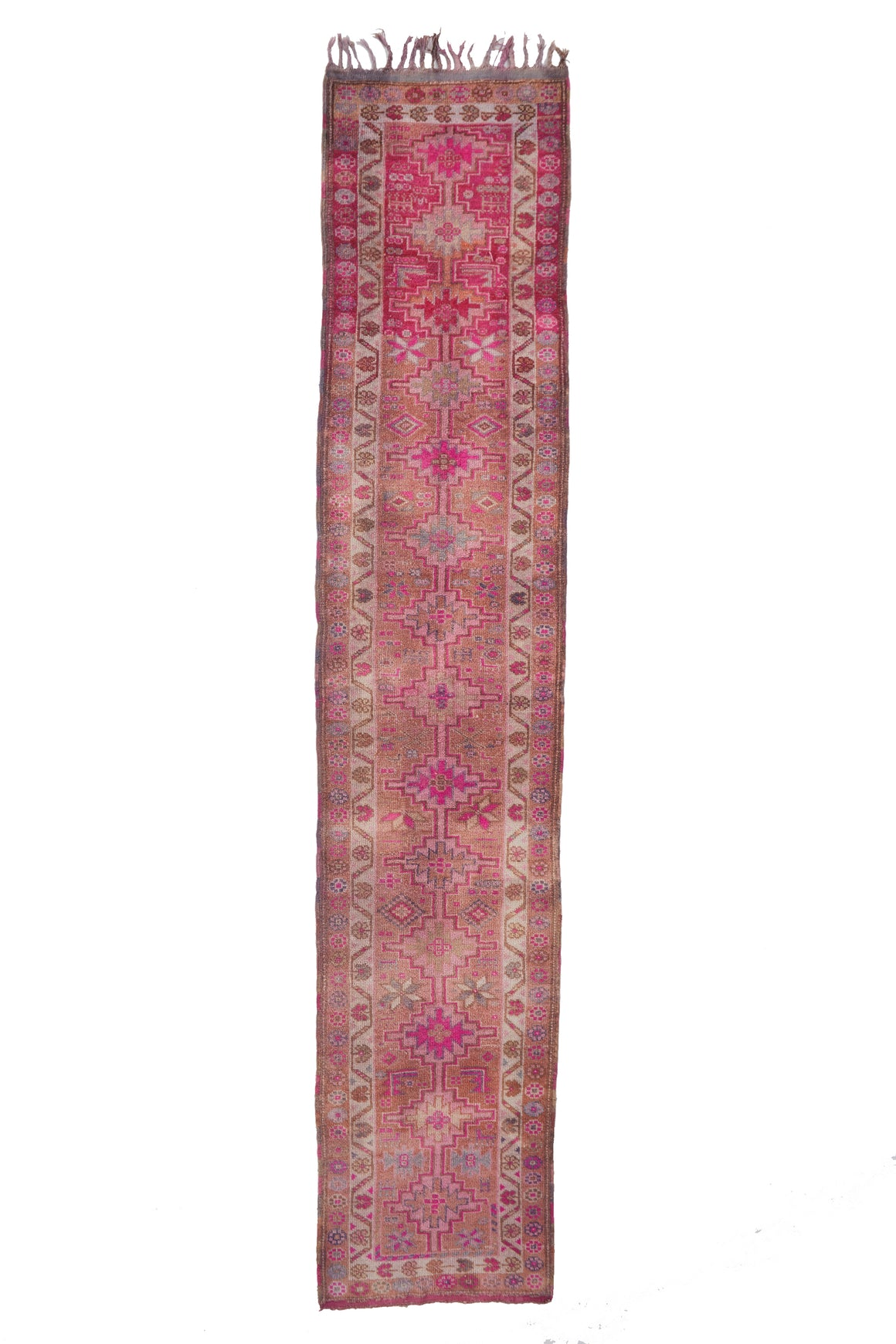 "'Hibiscus' Vintage Turkish Ombre Runner - 2'9"" x 14'2"" - Canary Lane - Curated Textiles"