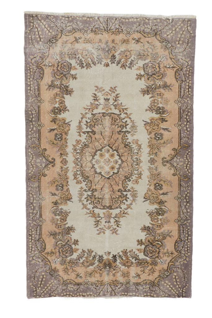 'Alma' Distressed Vintage Oushak Area Rug - 4'2'' x 7'1'' - Canary Lane - Curated Textiles