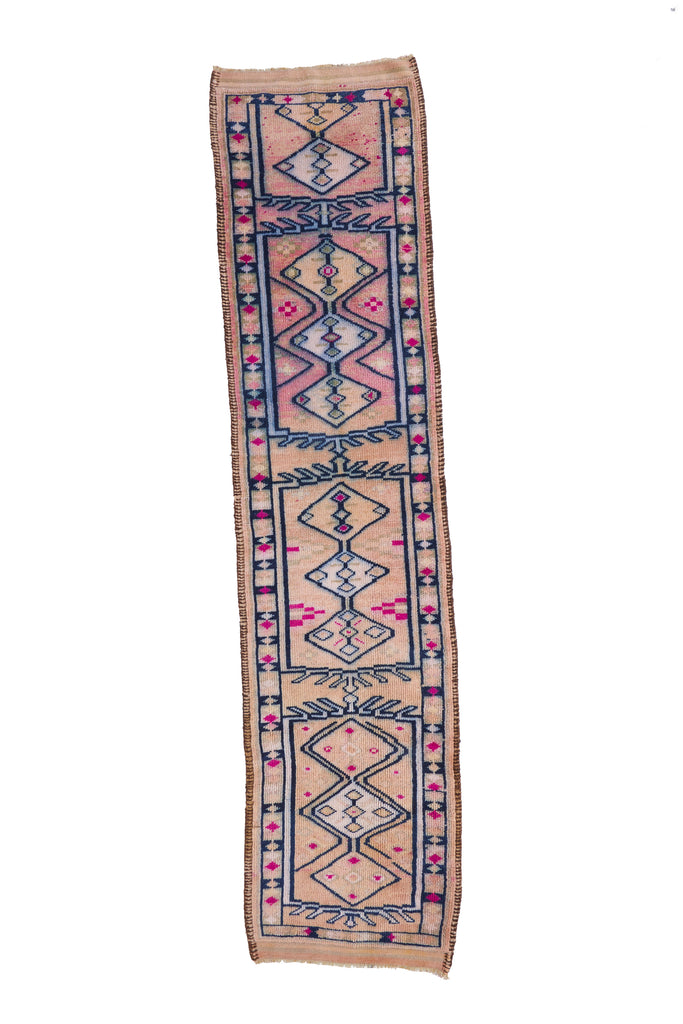 'Iris' Turkish Vintage Runner Rug - 3'' x 12'8'' - Canary Lane - Curated Textiles