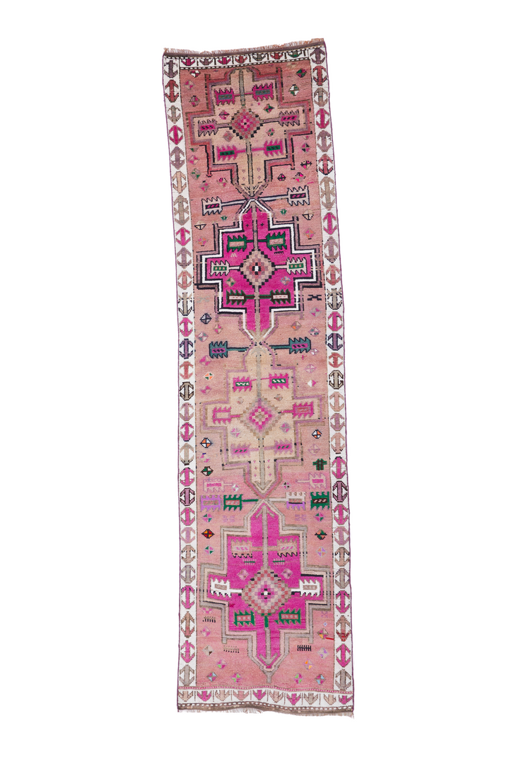 'Cotton Candy' Vintage Turkish Runner - 2'9'' x 10'9''