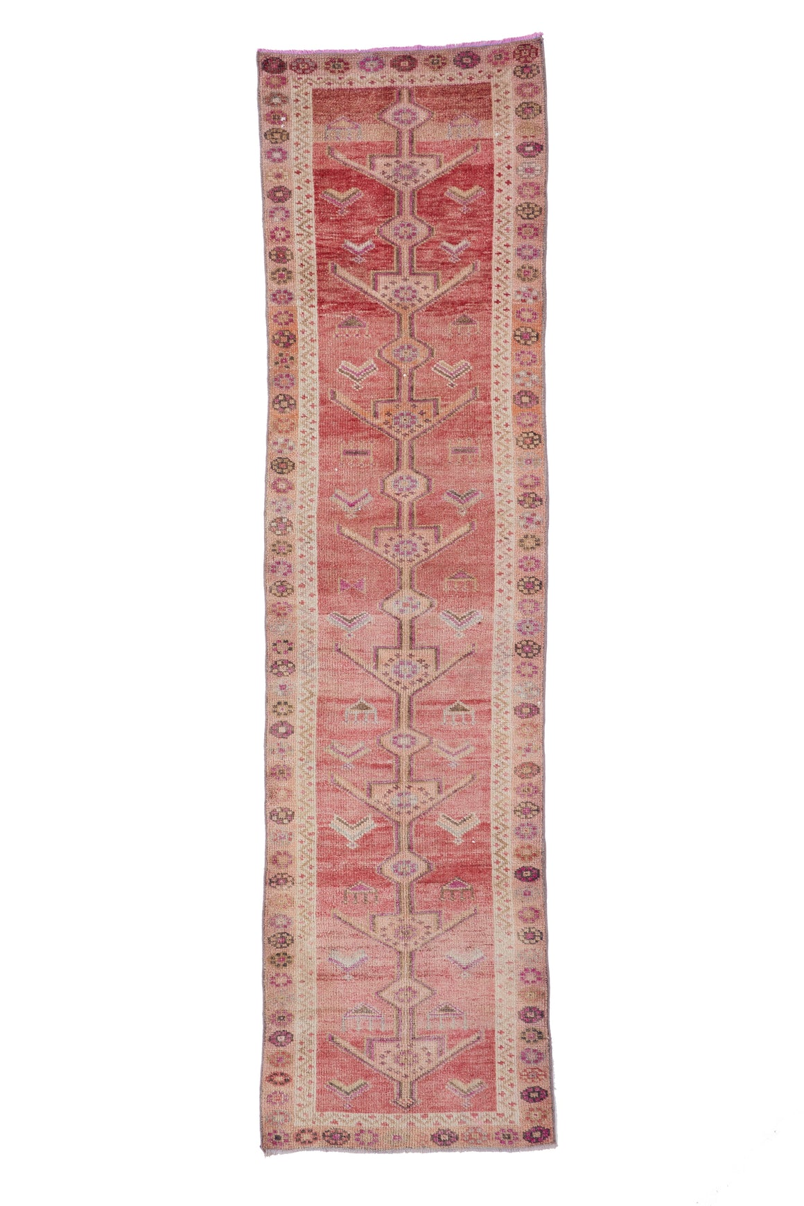 "'Flower' Vintage Turkish Runner - 3' x 11'5"" - Canary Lane - Curated Textiles"