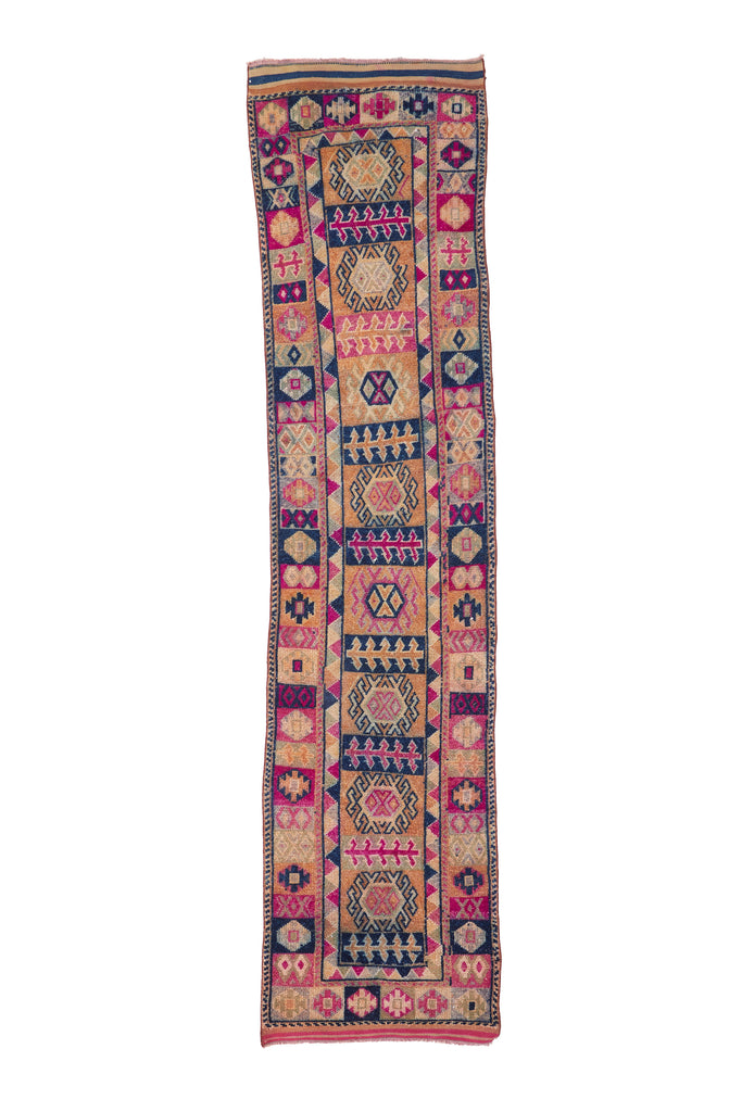 'Jubilee' Turkish Vintage Rug - 2'8'' x 11'7'' - Canary Lane - Curated Textiles