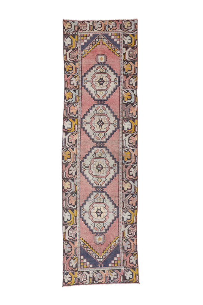 "'Dragonfly' Vintage Turkish Runner - 2'8.5'' x 9'7"" - Canary Lane - Curated Textiles"