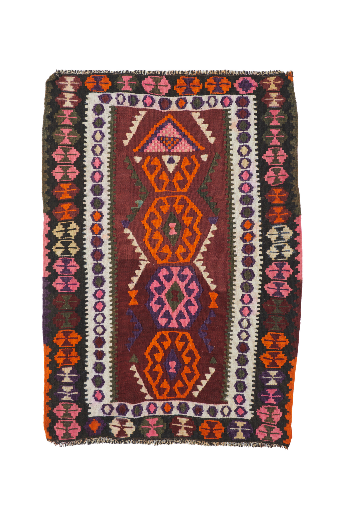 "'Sparkler' Small Vintage Turkish Kilim Rug - 3'1"" x 4'5"""