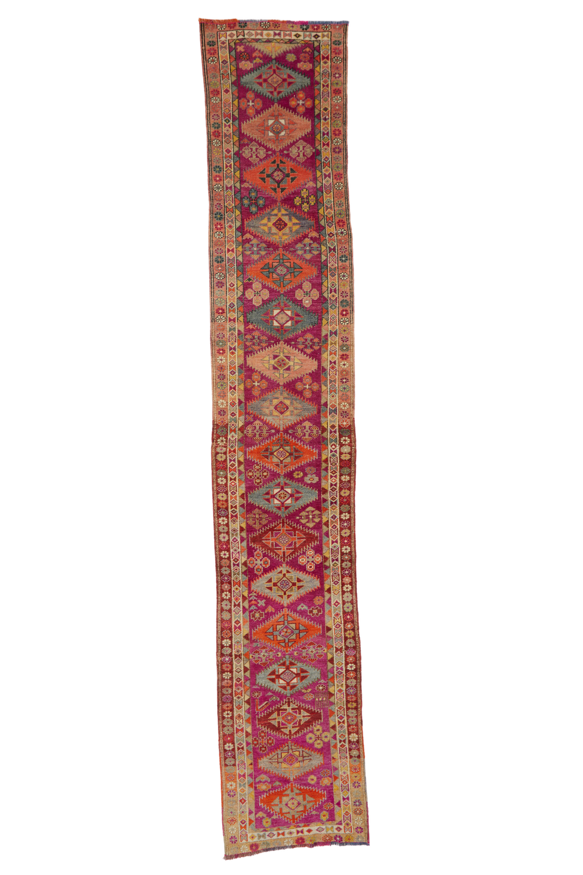 'Crocus' Vintage Turkish Long Runner- 2'8'' x 15'3''