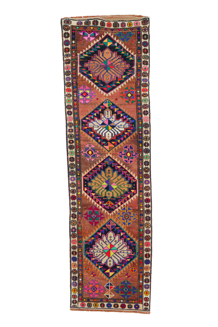 'Adelaide' Vintage Turkish Runner Rug - 3' x 10'7""