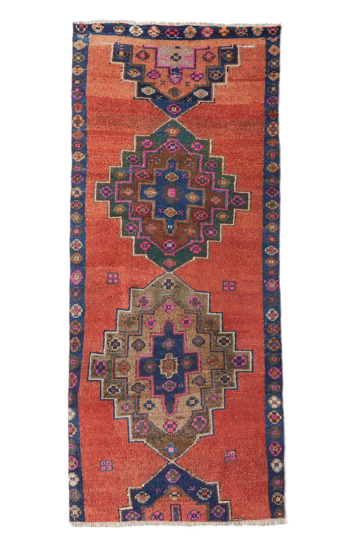 'Blaze' Turkish Vintage Rug - 3'7'' x 8'4'' - Canary Lane - Curated Textiles