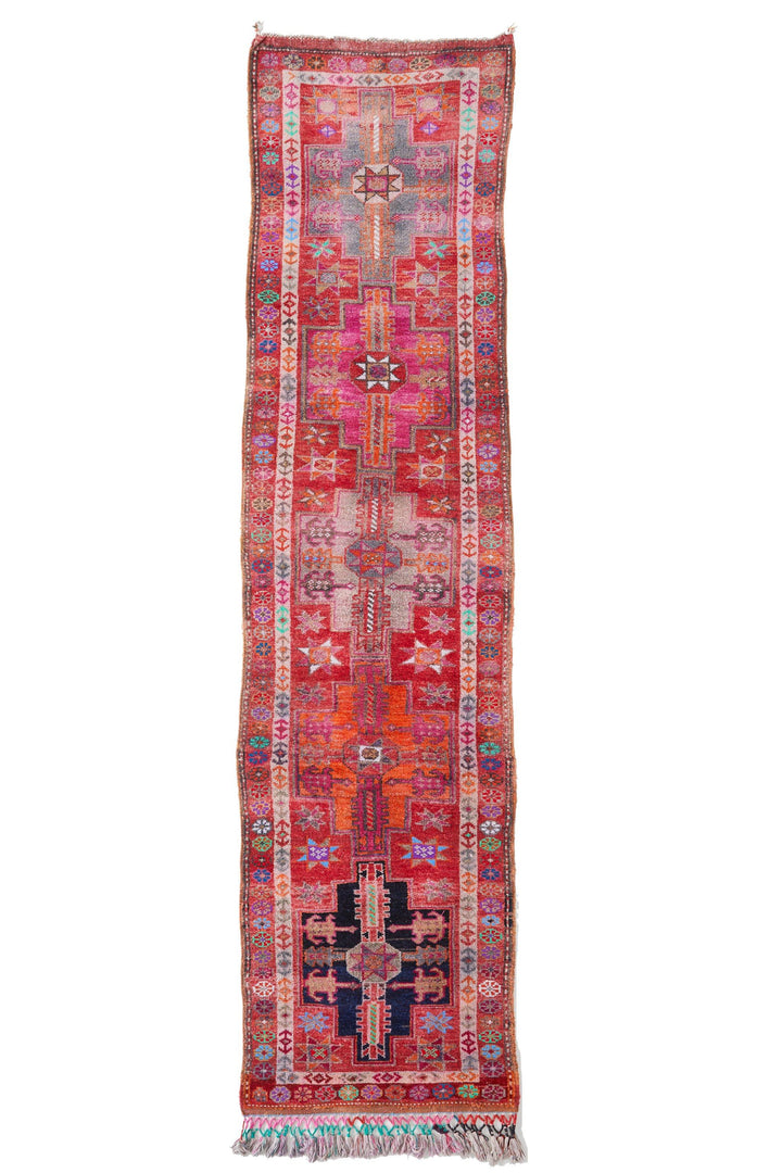 "'Festive' Vintage Turkish Runner  - 2'10"" x 12'2"" - Canary Lane - Curated Textiles"